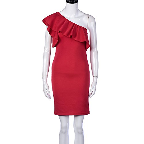 OverDose Damen Reizvolles Sleeveless Kleid weg vom Schulter-festen Minikleid Rot