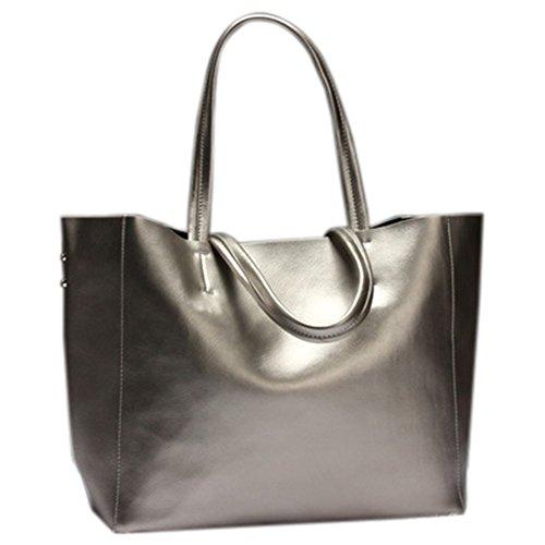 Remeehi Ladies Fashion Bovini nascondere Borse grandi dimensioni una borsa a tracolla, Black (bianco) - JXQ0695-6 Silver