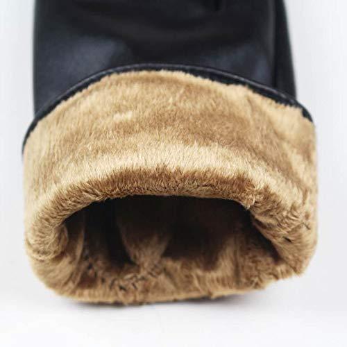 CCMOO Mode Herbst Und Winter Frauen Dame Weiche Lederhandschuhe Winter Warme Handschuh Weihnachtsgeschenk Schwarz-Camel Geschenke