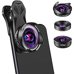 Merisny Kit Objectif Smartphone, 3 en 1 Téléphone Caméra Lentille,10X Macro, 16MM HD Wide Angle, 195 Degrés Fisheye pour iPhone Samsung Android Smartphones