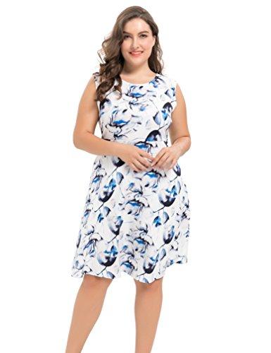 Kleider Plus Blau Size Formale (Chicwe Damen Strecken Blumen Party Picknick Cocktail Große Größen Kleid Blau 1X)