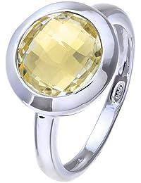 Citerna Rhodium Plated Silver Classic Round Lemon-Lime Quartz Stone Ring