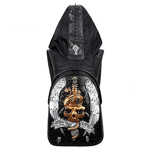TOMSSL Cuero PU De Los Hombres 3D Cráneo Mochila Punk Rock Personalidad Oscura Sombreros Deportes Al Aire Libre Bolsa De Remaches De Metal Hermoso, (Color : Silver)
