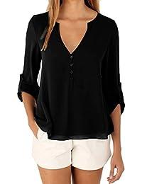 Schluppenbluse Top Bluse Shirt mit V-Kragenausschnitt