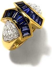 Gioie Bague Femme en Or 18 carats Blanc/Jaune avec Zircon Bleu et Zircon Blanc