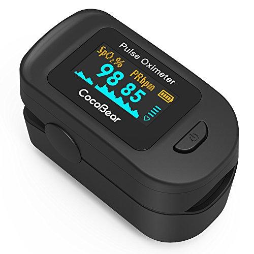 Oxímetro de Pulso,CocoBear Pulsioxímetro de dedo con Pantalla OLED, Oxímetro con función de alarma, Aaprobado por la FDA y la CE (Negro)