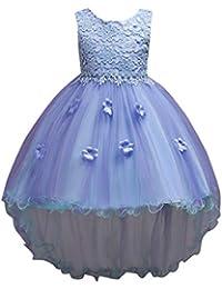 ღ UOMOGO Abiti per Matrimonio Carnevale Natale Regalo Bambina Arco Senza  Maniche Fiore Vestito Principessa Pizzo 2f542602769