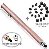 Bargains Depot B & D Stylus Stift Touch Pen Eingabestift Kapazitiven Touchscreen mit 20 x Ersatzspitzen für Tablet iPad iPhone Samsung Galaxy Tab (Rose Gold)