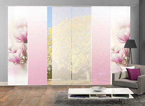 Wohnzimmer-zubehör-set (HOME WOHNIDEEN 96285 | 6er-Set Flächenvorhänge MAGNONE, blickdichter Deko-Stoff Blickdicht + halb-transparenter Halborganza, 6X 245x60 cm, inkl. hochwertigem Zubehör)
