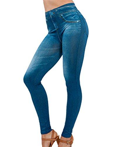 Guiran Leggings Leggins Jeggings Vaqueros Se Ven Pantalones De Cintura Alta Elásticos para Mujer Azul L/XL