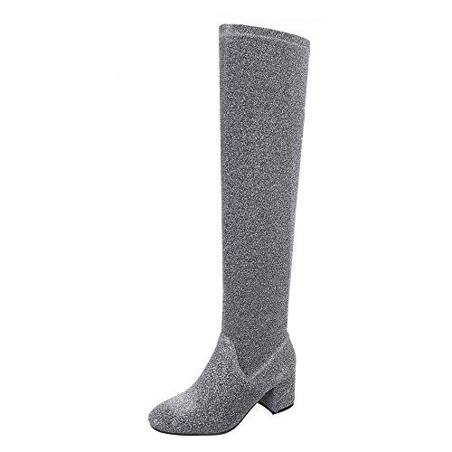 s Damen-Schuhe Klassischer Stiefel Blockabsatz Blockabsatz Reißverschluss Stiefel Grau, Gr 37, 0-169- (Pailletten-stiefeln)
