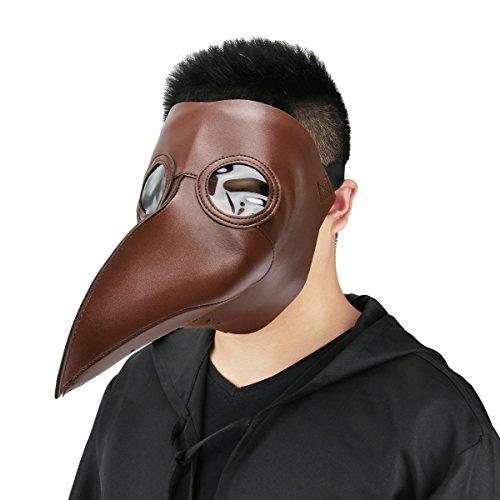 e Mittelalter Pest-Maske Doktor Arzt Kopfmaske Steampunk Kostüm Zubehör für Erwachsene Halloween Party Fasching Karneval PU Leder Braun (Erwachsenen-arzt Kostüme)