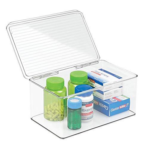 mDesign Tablettenbox groß - Organizer für Vitaminpräparate und vieles mehr - auch als Aufbewahrungsbox für Accessoires oder Kosmetik geeignet - mit Deckel - transparent (Neugeborenen-vitamine)