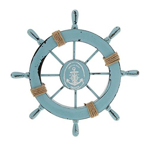ROSENICE Steuerrad mit Anker Holz Wanddeko Maritime Deko (Nautische Dekoration Für Wohnzimmer)