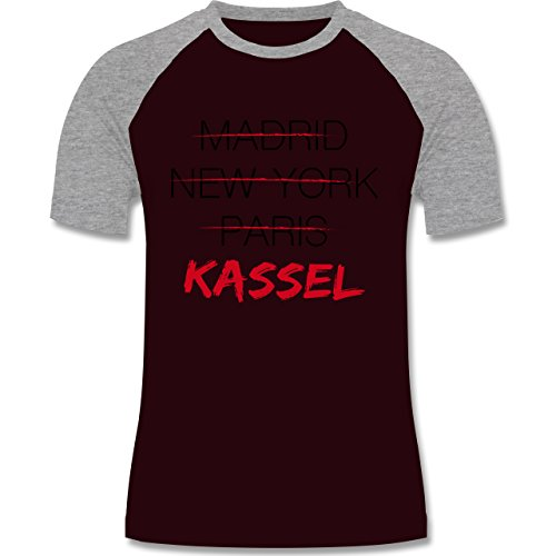 Städte - Weltstadt Kassel - zweifarbiges Baseballshirt für Männer Burgundrot/Grau meliert