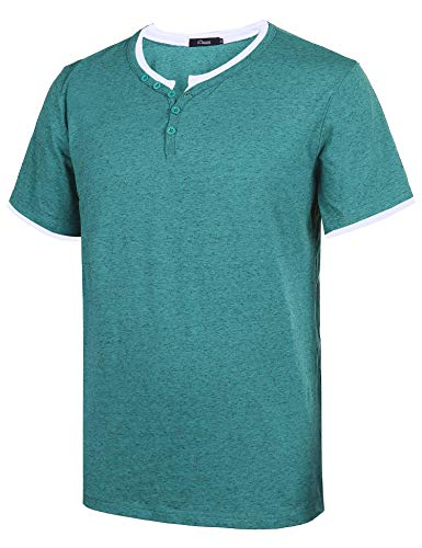 Sykooria Herren T-Shirt Melange Henley - Regular Fit T Shirts Henley Shirt mit Knöpfen Navy -