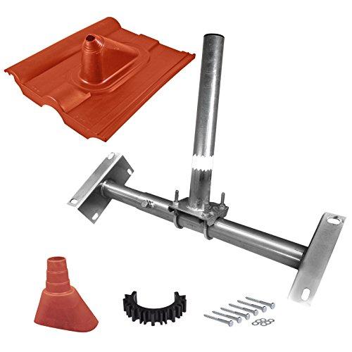 HB-DIGITAL SET: Dachsparrenhalter Ø 48mm 100cm + Dachabdeckung rot + Manschette rot + Kabelclip + 6x Schrauben