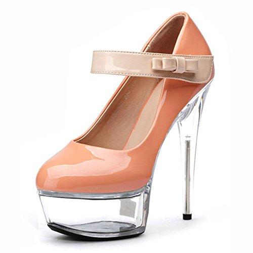 L@YC Donna Con Tacco alto Scarpe Diamante Scarpe Di Lusso 15cm Cristallo Scarpe Singole Danza E Dimensione Del Partito apricot