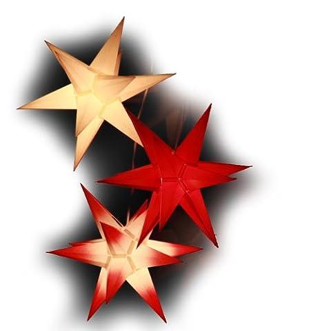 3er Set beleuchtete Sterne aus Papier, Rot Weiß Mix, 3d Weihnachtssterne fürs Fenster - Bockelwitzer Stern (Art.Nr.319) inkl. Kompaktnetzteil mit 3-fach-Verteiler, Fenster-Clip und Distanz-Stab, Durchmesser 19 cm, Papier, komplett handgefertigt, für den Innenbereich