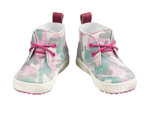 Emel fabriqué à la main chaussures premiers pas pour enfant en cuir fait à la main dans l'UE–Motif camouflage en daim à lacets Camoflage