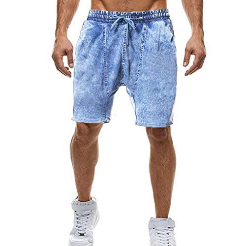 GreatestPAK Herren Sommer Kurze Jeans Herren Shorts Skateboard Falten 1/2 Demin Short Pants,Hellblau,EU:XXL(Tag:4XL) -