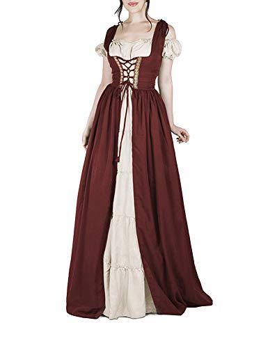 Guiran Damen Mittelalter Kostüm Kleider Viktorianischen Party Kleid Weinrot 3XL