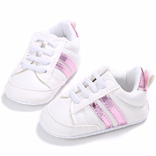 Nicholco , {Chaussures premiers pas pour bébé (garçon) White + Silver Edge 6-12M White + Pink Edge