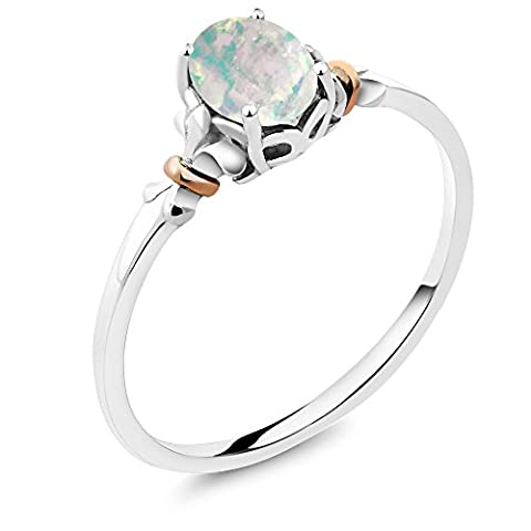 925 Sterling Silver and 10K Rose Gold Ring Oval Cabochon White Opal 0.63 cttw