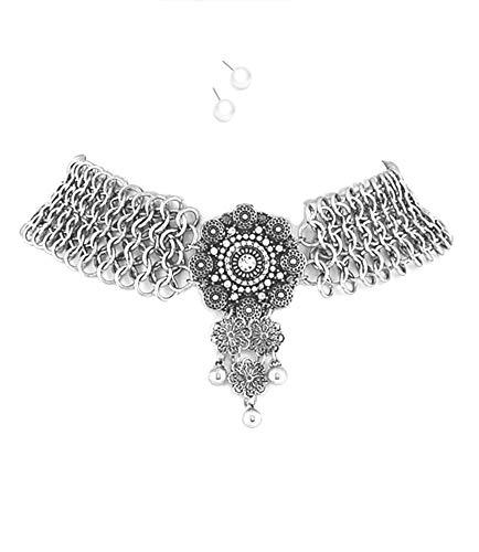 Schmuckanthony Boho Cocktail Trachten Hochwertiges Schmuckset Set Kette Silber Collier Choker Necklace Perlen Ohrringe Anhänger Graviert Filigran Kristall Klar Transparent