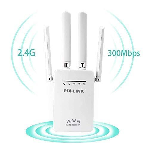 PIX-LINK Ripetitore WiFi, AmpRipetitore WiFi Wireless 300MBps Range Extender Universale WiFi Amplificatore Segnale con Porta Ethernet Roaming Wi-Fi Router Repeater Punto di Accesso Antenne Esterne