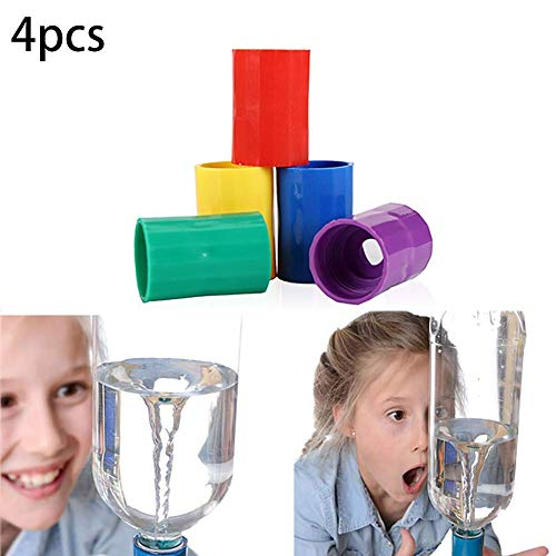 Bobopai Premium Quality 4pcs Bottle Connectors Tornado Connector Cyclone Tube Creative Design Vortex Bottle Novelty Tornado Maker Science Toy for Experiment and Test Yellow Purple Red Green