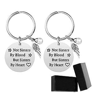 Premium-Schwester-Schlüsselanhänger – Nicht Schwestern von Blut, sondern Schwestern von Herzen Schwester Geburtstag Geschenk Freundin Freundschaft Geschenk Schlüsselanhänger (2 Stück)