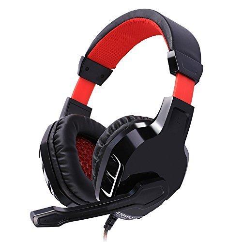 NUBWO NO3000 Over-ear Stereo Kopfhörer, Gaming Headset mit hohe-Empfindlichkeit Noise-Cancelling Mikrofon & Lautstärkeregler für PC, PS4 – Blau/Rote (Black)