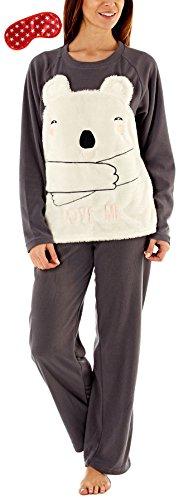 i-Smalls Frauen Lieben Mich Bär 2 Stück Snuggly Warm Pajama Set mit Star Print Augenmaske (S) Grau (Pyjama Blumen-print Set)
