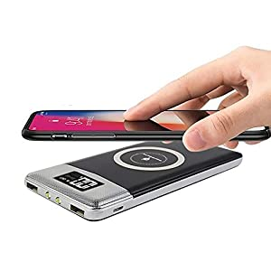 FDGAO Qi Wireless Power Bank, Caricatore Portatile 10000mAH con Display Digitale, Caricabatterie a Induzione Carica Veloce per iPhone 8/8 Plus/iPhone X,Samsung Galaxy Note8/S8/S7/S7 Edge (Nero)