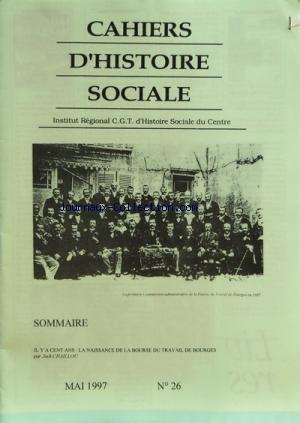 CAHIERS D'HISTOIRE SOCIALE [No 26] du 01/05/1997