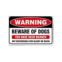 "‏‪DoubleWood Warning Beware of Dogs Sign, 8"" x 12"" Vintage Aluminum Retro Metal Sign Easy to Mount Weather Resistant Long Lasting Ink Indoor or Outdoor Use (Warning Beware of Dogs)‬‏"