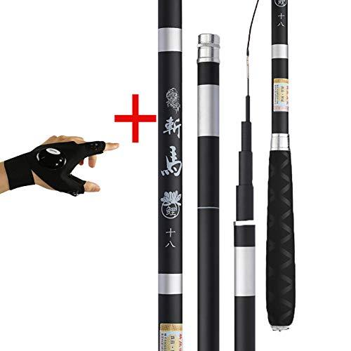 Mjlxy canna da pesca alta densità fibra di carbonio ultraleggero difficile canne da pesca telescopiche spinning rod carp fishing rod 2.7-7.2metri(contenente guanti),lefthandrod,5.7m