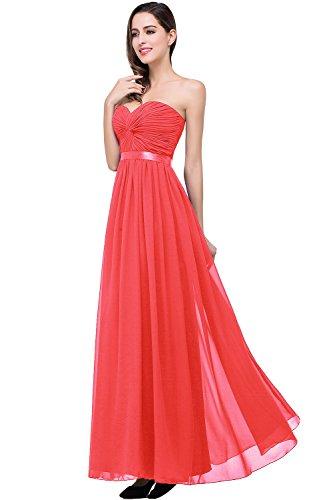 Damen Empire Taille Schulterfrei Lange Abendkleider Hell-Rot Gr.42