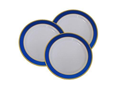 17,8cm Einweg Kunststoff Vorspeise & Dessertteller mit Blau & Gold Trim-40Pack-17,8cm blau & gold mit Rand Elegante China wie Hochzeit Geschirr.