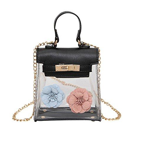 WTUS Damen Art und Weise Zipfel Neue Blumen Handtaschen Schwarz