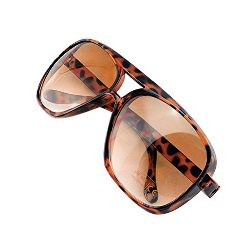 Denshine Gafas De Sol De Espejo Coloreado Estilo De La Moda Para Hombre y Mujer Leopard Classic