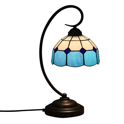 Fabakira Tiffany Stil Bar Lampe und Tischlampe E27 Glasmalerei Wohnzimmer Schlafzimmer Nachttischlampe Gelb Kunst Licht 20 * 47 cm (Blau) -