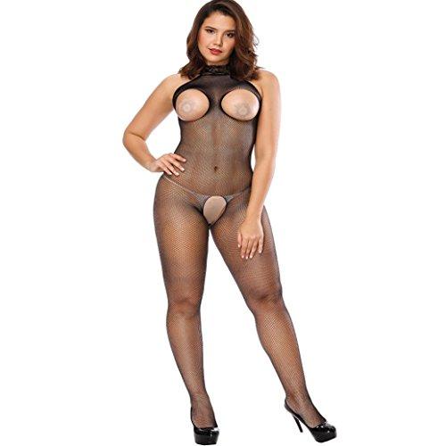 MCYs Dessous Damen Schwarz Plus Size Halfter Offen Web Kleidung Siamesische Negligee Nachthemd Jumpsuit Overall Bodystocking (Netz-leggins Leggins)