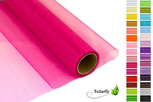 Creativery 9m Rolle Organza 36cm Crystal (pink 156) // Tischläufer Deko Stoff Band Hochzeit Tisch Schleifenband Floristik Organzastoff Durchsichtig