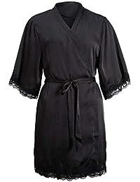 BOLAWOO Encaje Patchwork Bata Lencería Mujeres Seda De Kimono Batas Boda Camisón Noche Mode De Marca