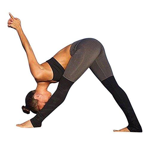 CHIC-CHIC Leggings Slim Femme Pantalons Elastique Sport Running Yoga Fitness (Gris, S)
