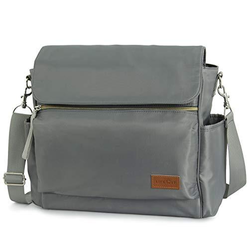 Lifewit Große Wickeltasche Mama Tasche Reisetasche mit Griff und Schultergurt, Multifunktional Schultertasche Tragetasche für Mutter (hellgrau)
