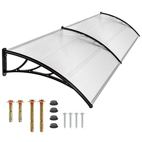 Tectake pensilina tettoia in policarbonato per porta o finestra per esterno - disponibili in diverse misure - (300x93cm)