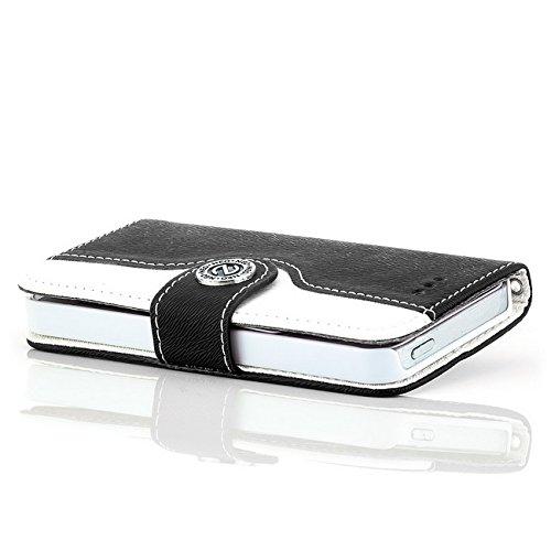 Saxonia Flip Case Tasche Apple iPhone SE 5 5S Hülle Schutzhülle Elegante Handytasche mit Kartenfach Standfunktion Farbe Grau-Weiß Schwarz-Weiß